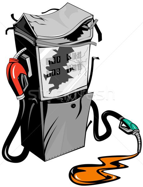 Törött benzinpumpa állomás retro illusztráció benzin Stock fotó © patrimonio