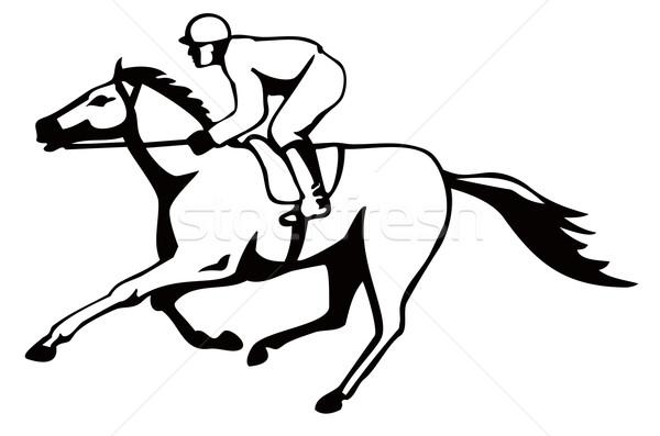 Horse and Jockey Racing Retro Stock photo © patrimonio