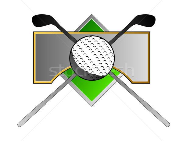 Golf Ball Clubs on Metal Crest Stock photo © patrimonio