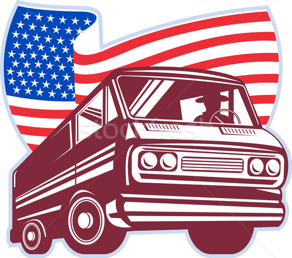 1950's styled station wagon with american flag Stock photo © patrimonio