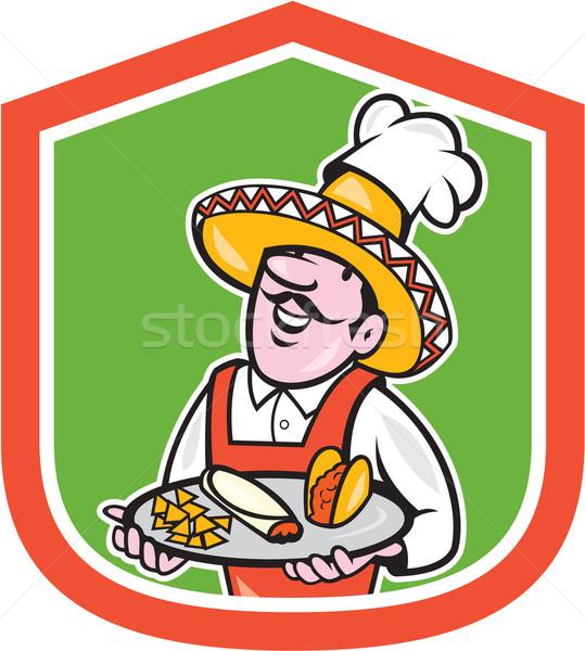Mexikói szakács szakács pajzs rajz illusztráció Stock fotó © patrimonio