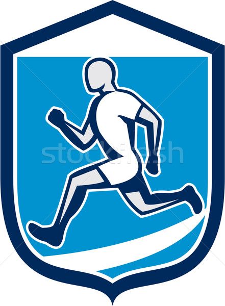 Sprinter Runner Running Shield Retro Stock photo © patrimonio
