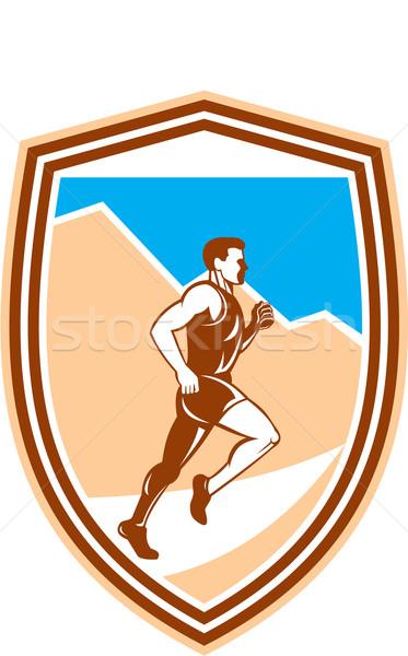 Maratón corredor ejecutando vista lateral retro ilustración Foto stock © patrimonio