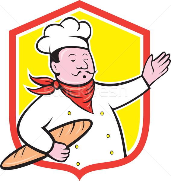 Chef kok baguette schild cartoon Stockfoto © patrimonio