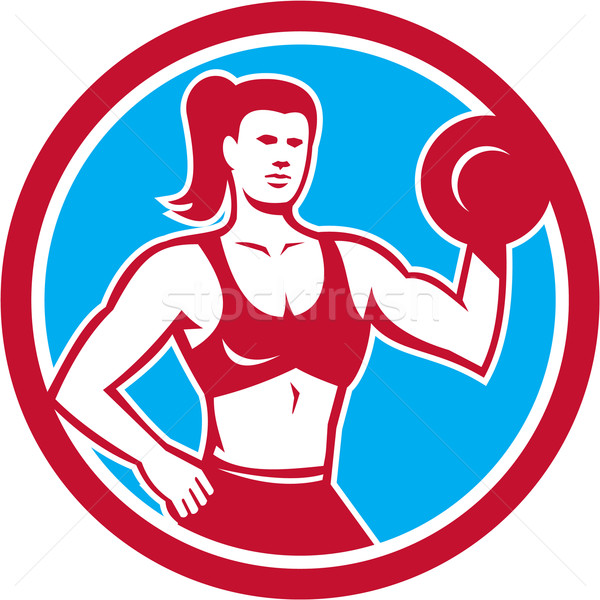 Personal Trainer Female Lifting Dumbbell Circle Stock photo © patrimonio
