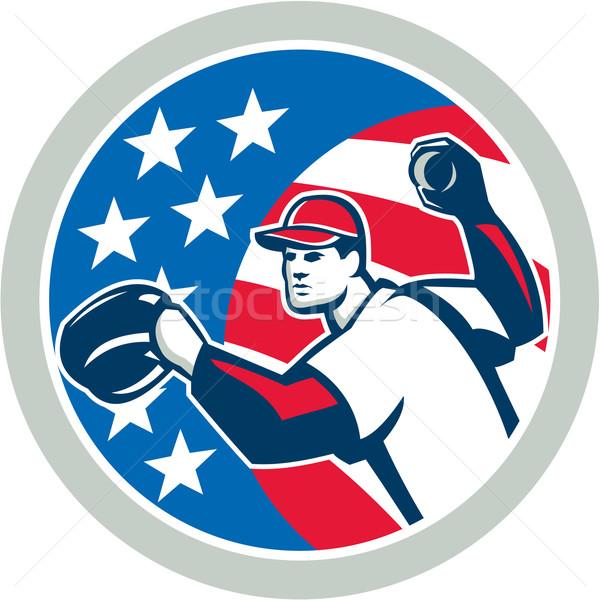 American Baseball Pitcher Throwing Ball Retro Stock photo © patrimonio