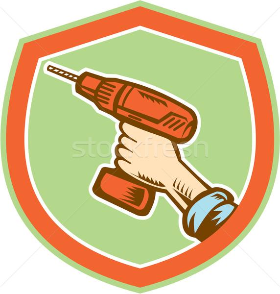 Handyman Hand Holding Cordless Drill Retro Stock photo © patrimonio