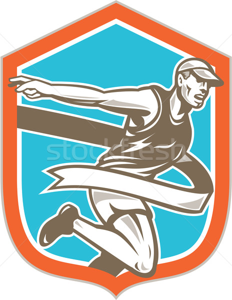 Marathon Runner Finish Line Shield Retro Stock photo © patrimonio