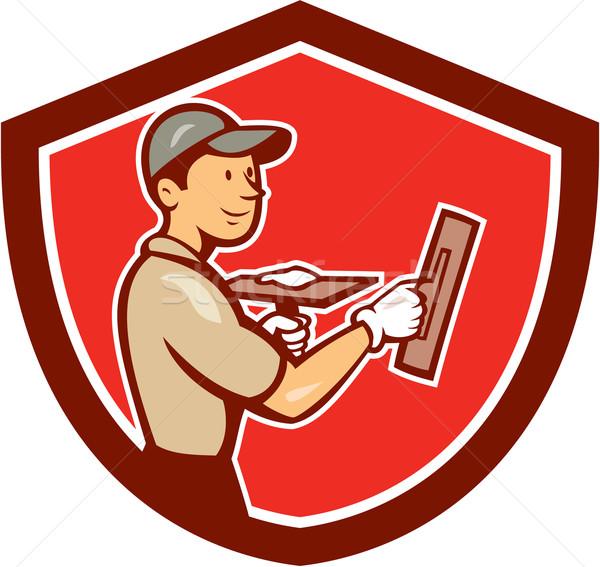 Kamieniarstwo pracownika tarcza cartoon ilustracja handlowiec Zdjęcia stock © patrimonio