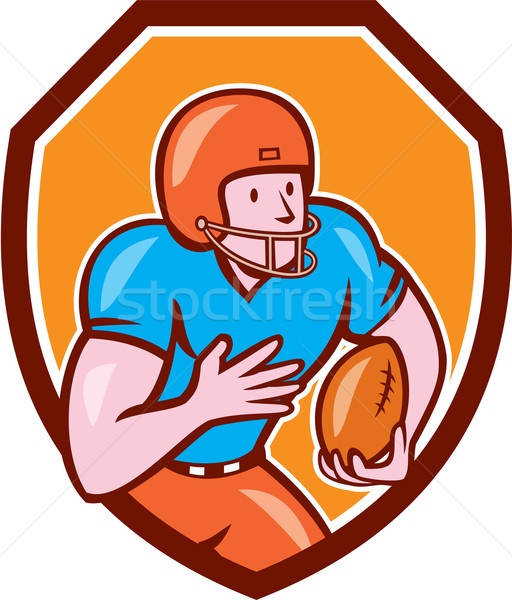 American Football Receiver Running Ball Shield Stock photo © patrimonio