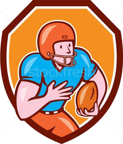 Stock photo: American Football Receiver Running Ball Shield