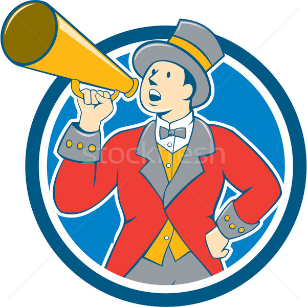 Circus Ringmaster Bullhorn Circle Cartoon Stock photo © patrimonio