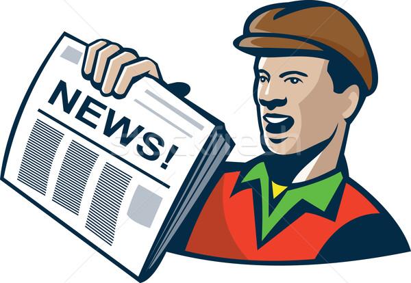 Newsboy Newspaper Delivery Retro Stock photo © patrimonio