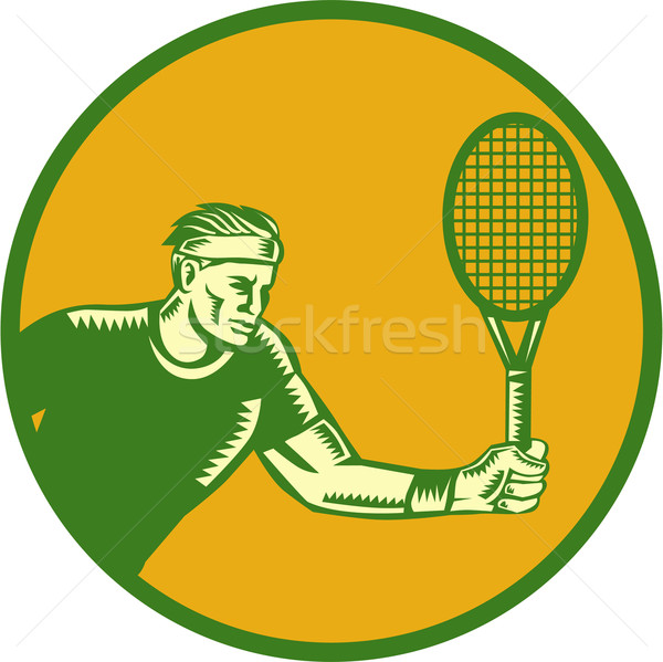 Tennis Player Forehand Circle Woodcut Stock photo © patrimonio