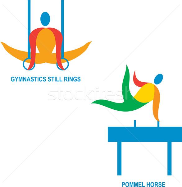 Jimnastik ikon örnek atlet oynama Stok fotoğraf © patrimonio