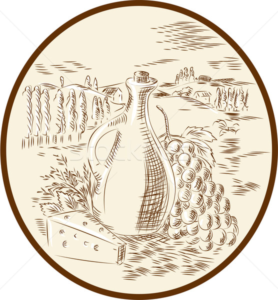 Olive Oil Jar Cheese Tuscan Countryside Etching Stock photo © patrimonio
