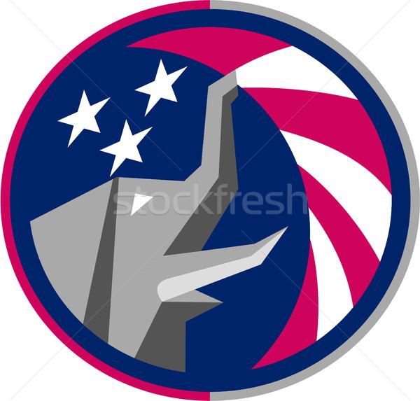 Republican Elephant Mascot USA Flag Circle Retro Stock photo © patrimonio