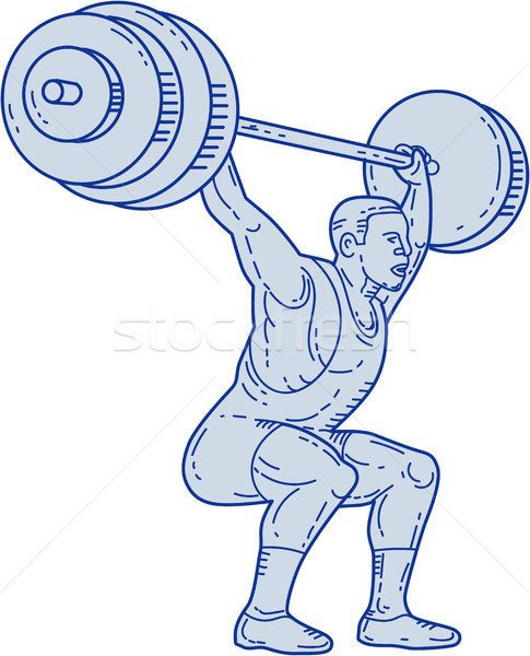 Weightlifter Lifting Barbell Mono Line Stock photo © patrimonio