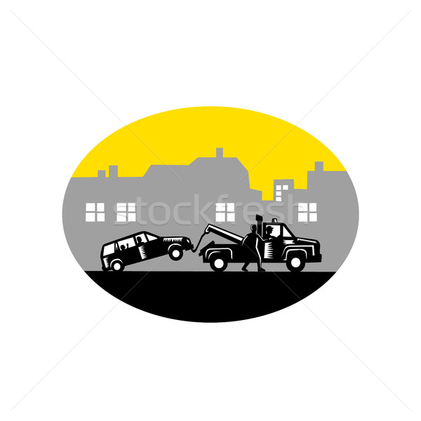 Tow Truck Towing Car Buildings Oval Woodcut Stock photo © patrimonio
