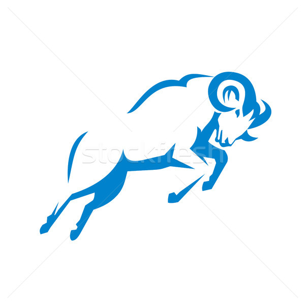 ストックフォト: 山 · 羊 · ジャンプ · サイド · レトロな · 実例