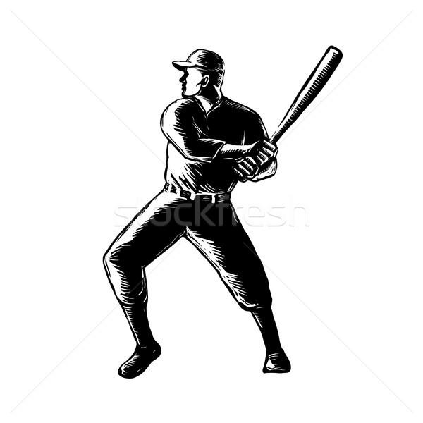 Baseball Player Batting Woodcut Black and White Stock photo © patrimonio