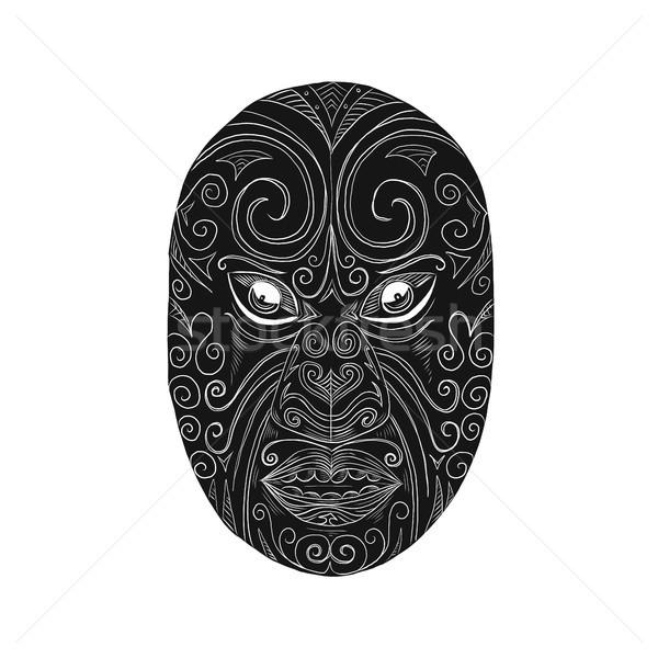 Maori Mask Scratchboard  Stock photo © patrimonio