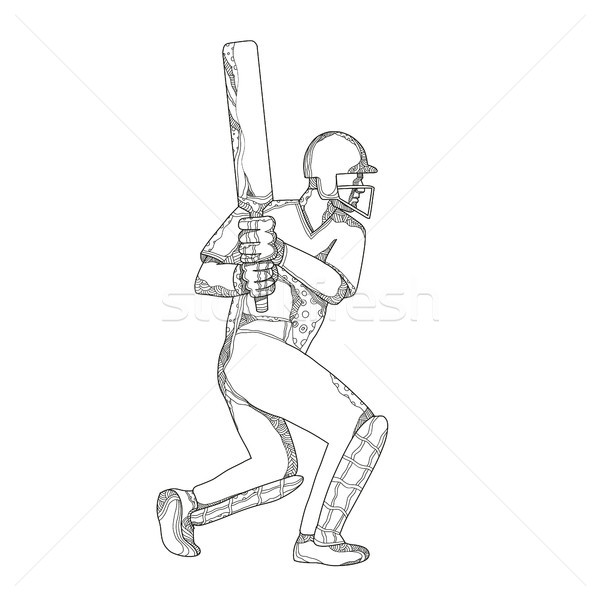 Cricket Batsman Batting Doodle Art Stock photo © patrimonio
