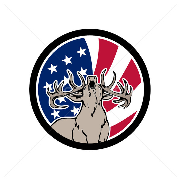 North American Deer USA Flag Icon Stock photo © patrimonio