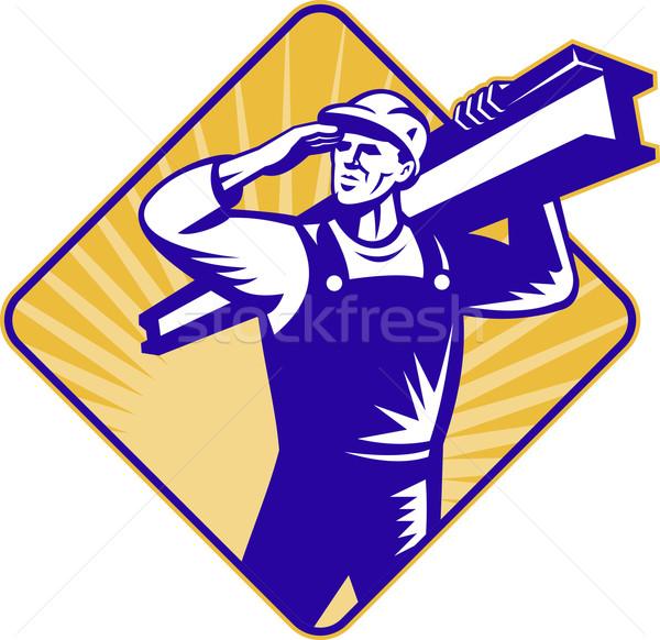construction worker salute carry i-beam Stock photo © patrimonio
