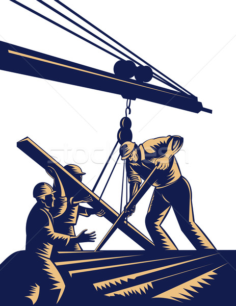 Construction workers hoisting timber on boom Stock photo © patrimonio