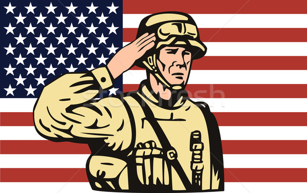 American soldier serviceman saluting  Stock photo © patrimonio