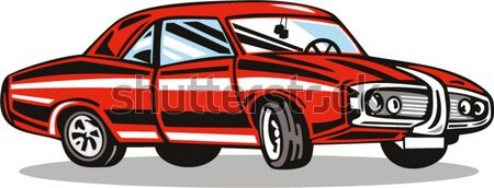 Red Car Station Wagon Back View Stock photo © patrimonio