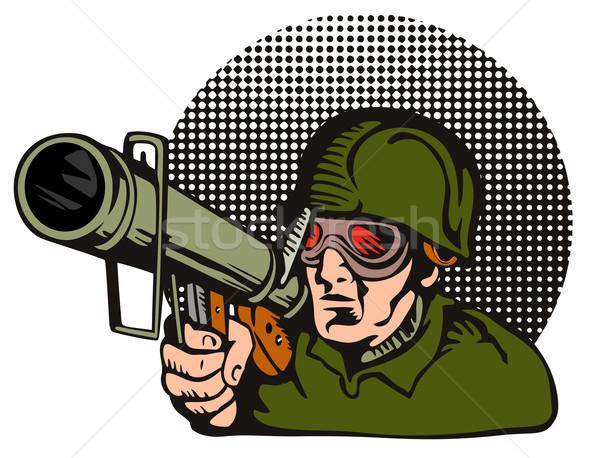 Soldier Aiming Bazooka Stock photo © patrimonio
