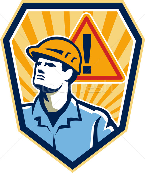 Contractor Construction Worker Caution Sign Retro Stock photo © patrimonio