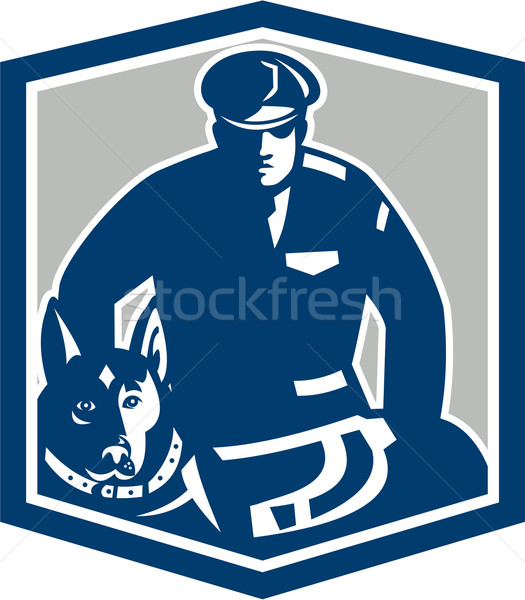 Canine Policeman With Police Dog Retro Stock photo © patrimonio