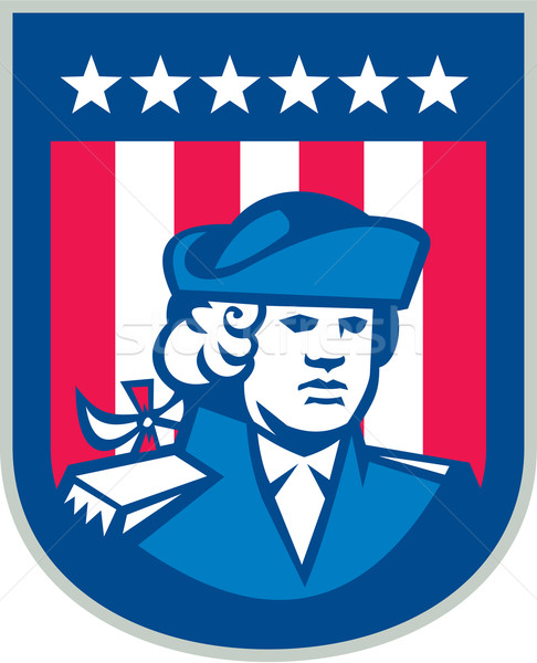 Amerikai hazafi fej csőd pajzs retro Stock fotó © patrimonio