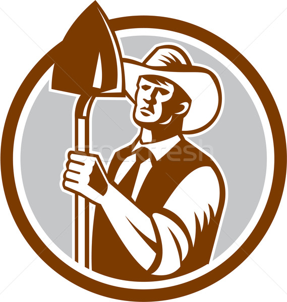Organic Farmer Shovel Circle Woodcut  Stock photo © patrimonio
