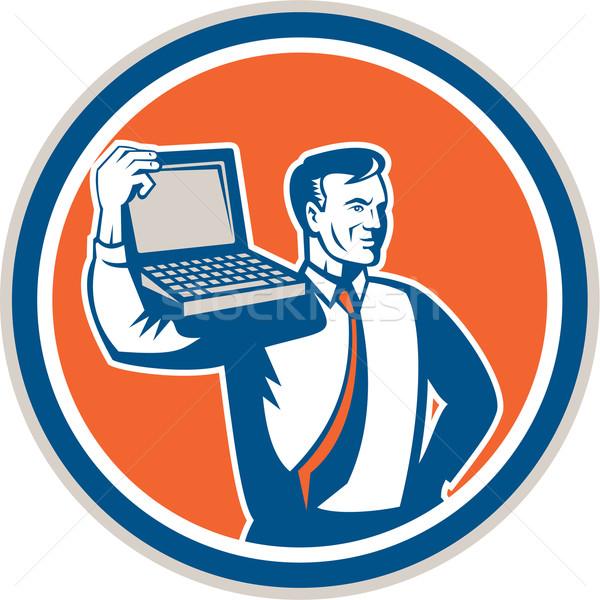 Komputera geek technik laptop kółko retro Zdjęcia stock © patrimonio