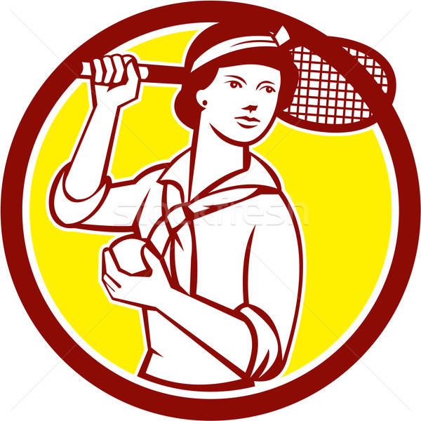 Female Tennis Player Racquet Vintage Circle Retro Stock photo © patrimonio