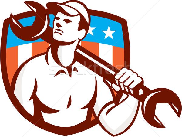 Szerelő csavarkulcs franciakulcs USA zászló retro Stock fotó © patrimonio