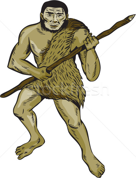 Neanderthal Man Holding Spear Etching Stock photo © patrimonio