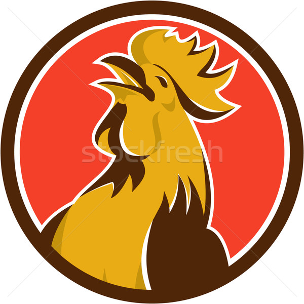 Chicken Rooster Crowing Circle Retro Stock photo © patrimonio