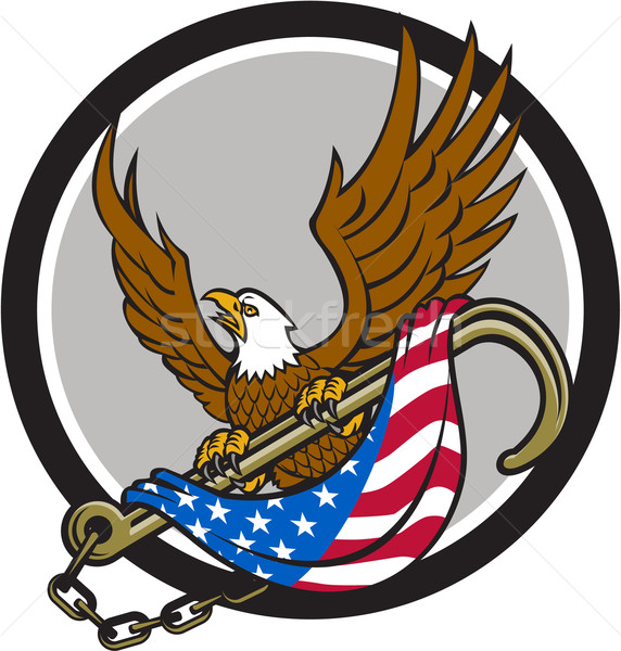 American Eagle Clutching Towing J Hook Flag Circle Retro Stock photo © patrimonio