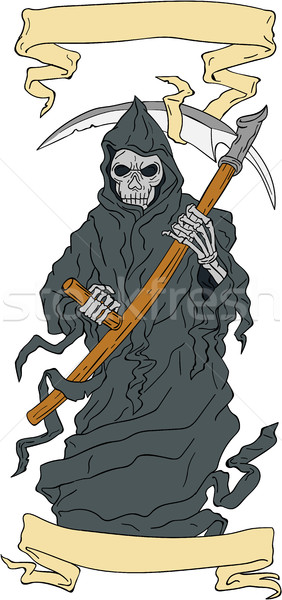 Grim Reaper Scythe Scroll Drawing Stock photo © patrimonio