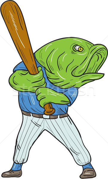 Largemouth Bass Baseball Player Batting Cartoon Stock photo © patrimonio
