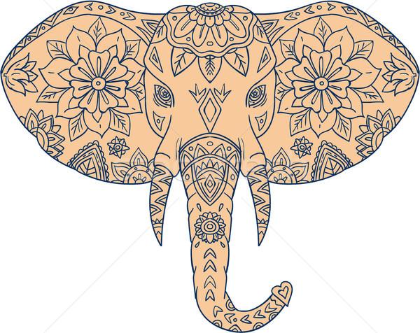 Elefánt fej agyar mandala stílus illusztráció Stock fotó © patrimonio