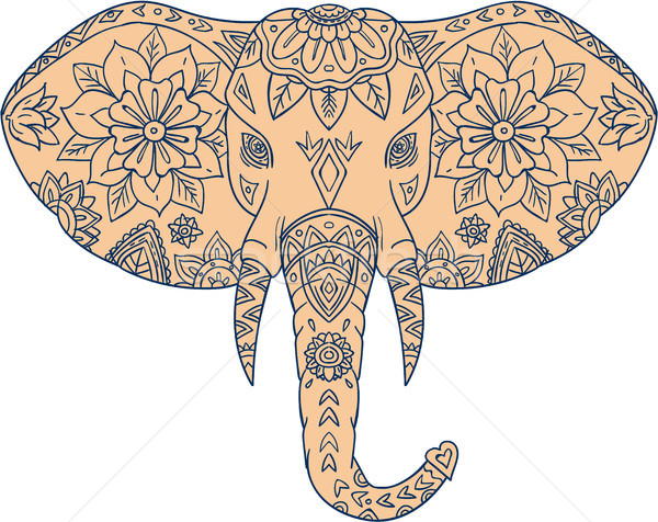 Elefante cabeça presa mandala estilo ilustração Foto stock © patrimonio