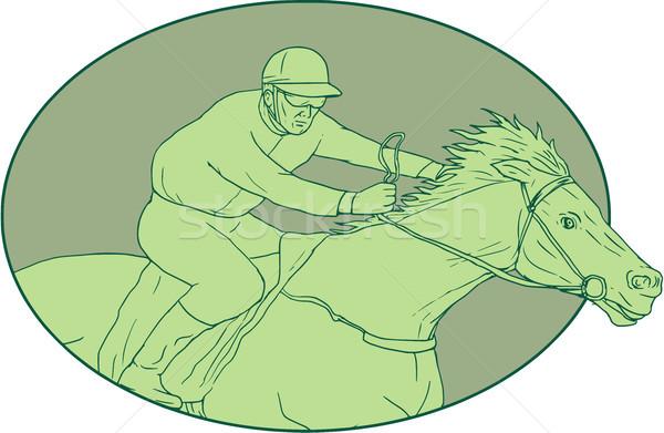 лошади жокей Racing овальный рисунок эскиз Сток-фото © patrimonio