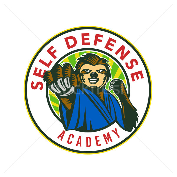 Sloth Karate Self Defense Badge Stock photo © patrimonio