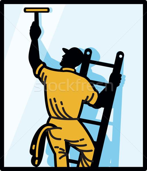 Limpador de janelas trabalhador limpeza escada retro ilustração Foto stock © patrimonio